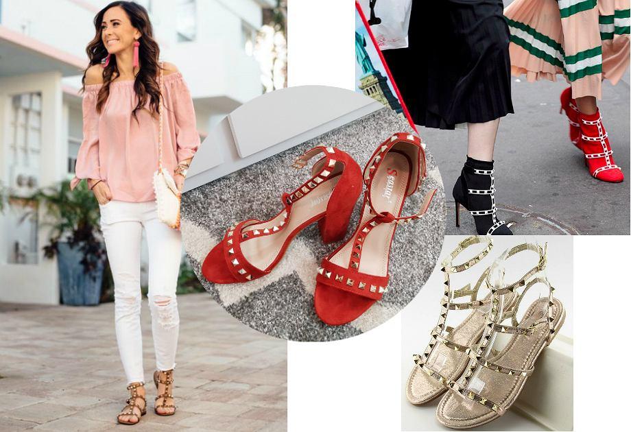 Sandały z ćwiekami w stylu Valentino