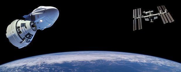 Starliner Boeinga i Dragon firmy SpaceX w drodze do Międzynarodowej Stacji Kosmicznej - wizja artystyczna