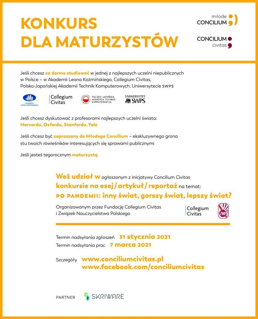 plakat II konkursu dla maturzystów