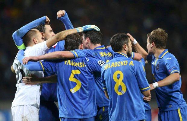 sBATE Borisovs players celebrate their victory over Athletic Bilbao in the Champions League soccer match in Borisov