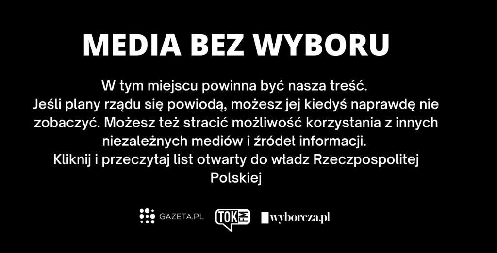 'Media bez wyboru', Gazeta.pl, TOK FM, Wyborcza.pl