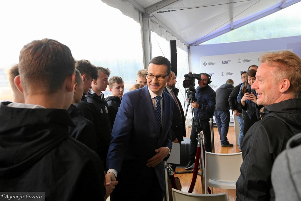 Uroczystość wmurowania kamienia węgielnego pod Legia Training Center. Wziął w niej udział premier Mateusz Morawiecki.