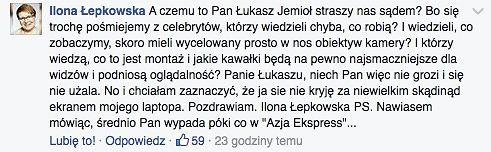 Screen komentarza Ilony Łepkowskiej