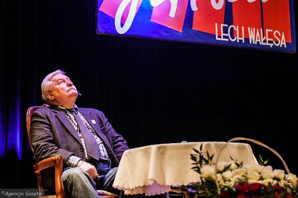 Lech Wałęsa na spotkaniu pod koniec stycznia w Namysłowie.
