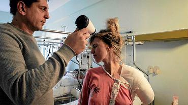 Alona Romanenko z mężem w szpitalu przy ul. Szwajcarskiej w Poznaniu