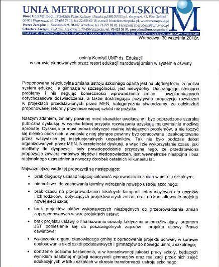 Pismo Komisji Edukacji i Mediów Unii Metropolii Polskich