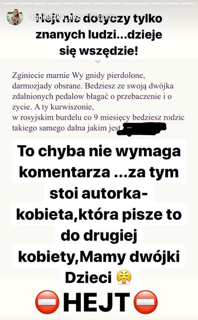 screen z Instagrama Agnieszki Hyży