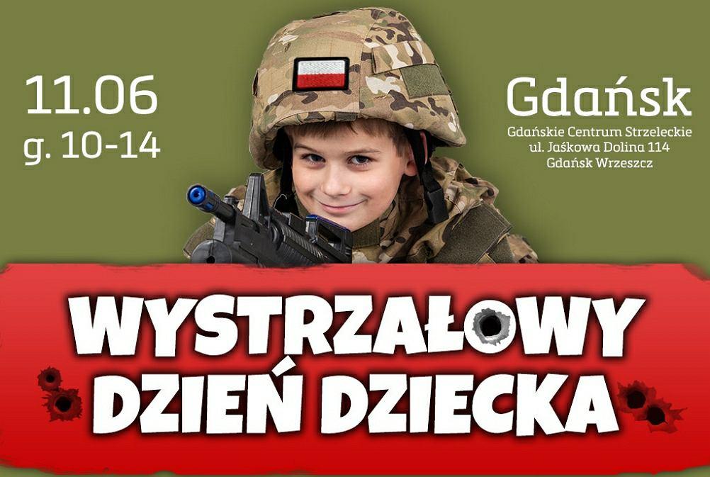 Plakat promujący piknik rodzinny 'Wystrzałowy Dzień Dziecka' w Gdańsku