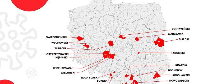 Nie tylko kopalnie. Ogniska koronawirusa w różnych częściach Polski