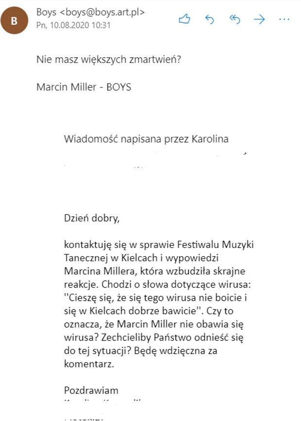 Marcin Miller odpowiada na maila