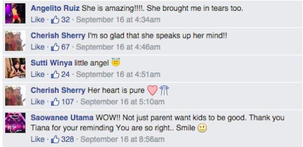 Wpisy na Facebooku o 6-letniej Tianie
