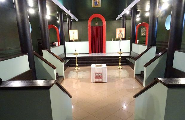 Wnętrze cerkwi pod wezwaniem  Narodzenia Przenajświętszej Bogurodzicy w Białym Borze