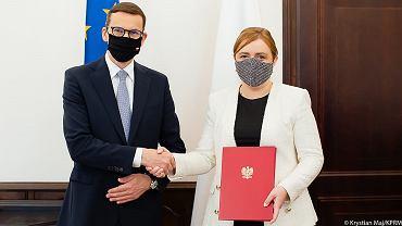 Premier Mateusz Morawiecki i Olga Semeniuk