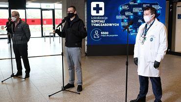 Konferencja premiera Mateusza Morawieckiego w szpitalu na Stadionie Narodowym (29.10)