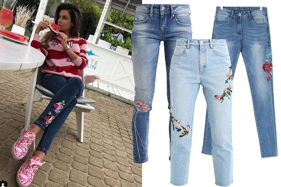 Kolaż, haftowane jeansy/Materiały partnera