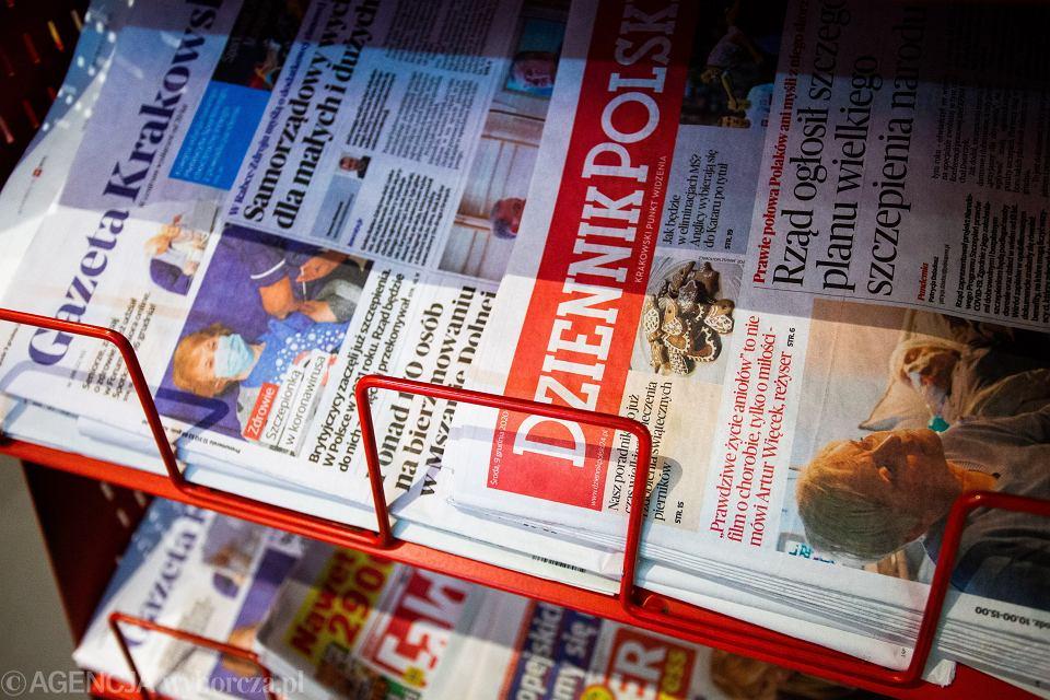 'Gazeta Krakowska'' i ''Dziennik Polski'' - tytuły wydawane przez Polska Press wykupił Orlen. Kraków, 9 grudnia 2020