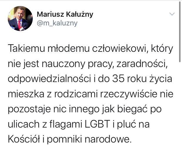 Jeden z usuniętych wpisów Mariusza Kałużnego z Twittera.