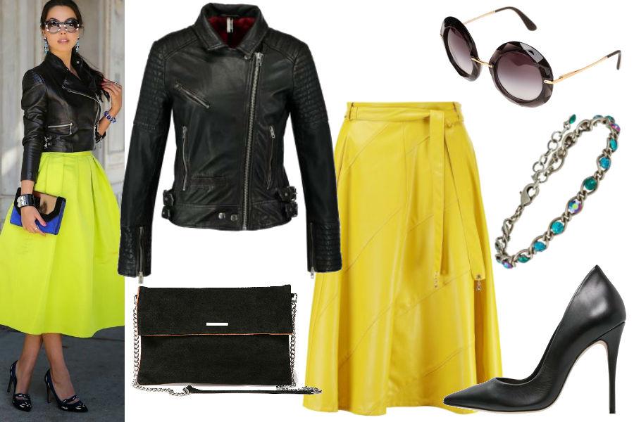 sondurumoda.com, żółta spódnica, czarne szpilki, okulary przeciwsłoneczne
