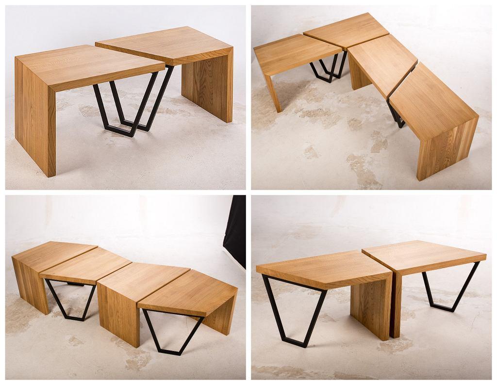 Wielofunkcyjna ławka Bondi. Wymiary: 63x40x40x46,2 cm. Materiały: drewno dębowe, metal malowany proszkowo. Cena jednego elementu wynosi 900 zł. Cena kompletu - 1800 zł.
