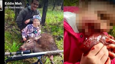 Zdjęcia myśliwego i jego córki, gryzącej serce upolowanego jelenia