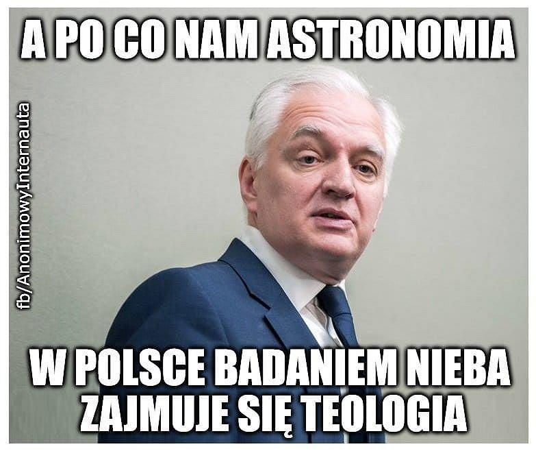 Jarosław Gowin astronomia memy
