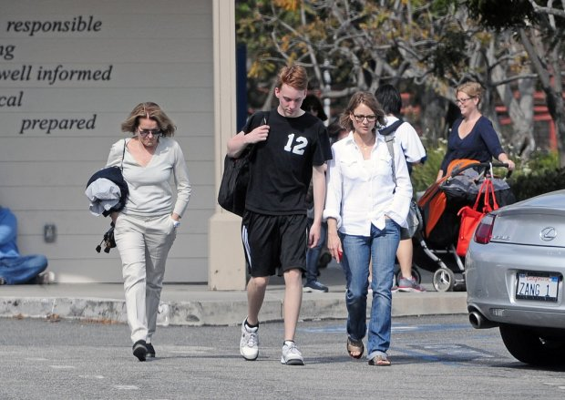 EXCLUSIVE: Jodie Foster and Cydney Bernard were spotted together going to Charles Foster's Volleyball game in Santa Monica, CA.  Pictured: Jodie Foster, Charles Foster and Cydney Bernard