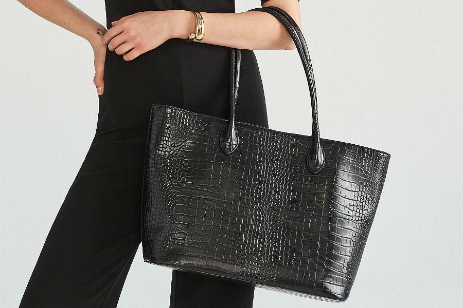 Czarna, pojemna shopperka do pracy lub na co dzień