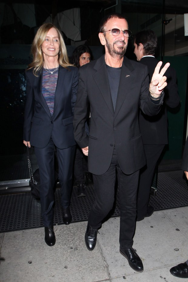 [No Australia, No New Zealand] Beverly Hills, CA - Ringo Starr and his wife Barbara Bach had dinner at Mr. Chow in Beverly Hills.  Ringo kept putting up a peace sign for the cameras and seemed to be in high spirits.        AKM-GSI          March 15, 2012    [No Australia, No New Zealand]    To License These Photos, Please Contact :    Steve Ginsburg  (310) 505-8447  (323) 4239397  steve@ginsburgspalyinc.com  sales@ginsburgspalyinc.com    or    Keith Stockwell  (310) 261-8649  (323) 325-8055   keith@ginsburgspalyinc.com  ginsburgspalyinc@gmail.com    or    Thaissa Kantif Voigt  (310) 619-0000  thaissa.voigt@akmimages.net       *** Local Caption ***  Ringo Starr