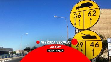 Żółte znaki z czołgami, wyższa szkoła jazdy
