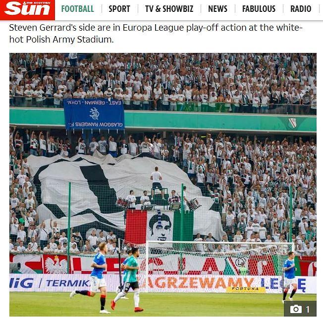 'The Scottish Sun' o zachowaniu kibiców Legii Warszawa