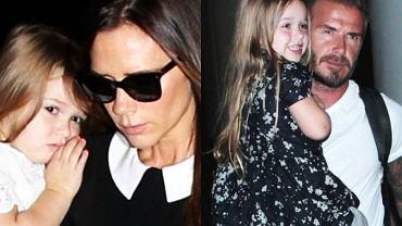 Victoria Beckham, David Beckham i ich córka Harper