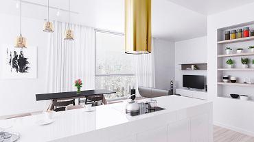Złoty okap w białej aranżacji kuchennej