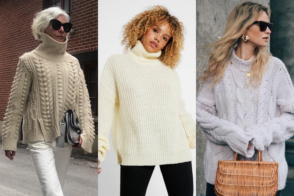 Swetry z golfem to świetna baza do jesiennych zestawów.