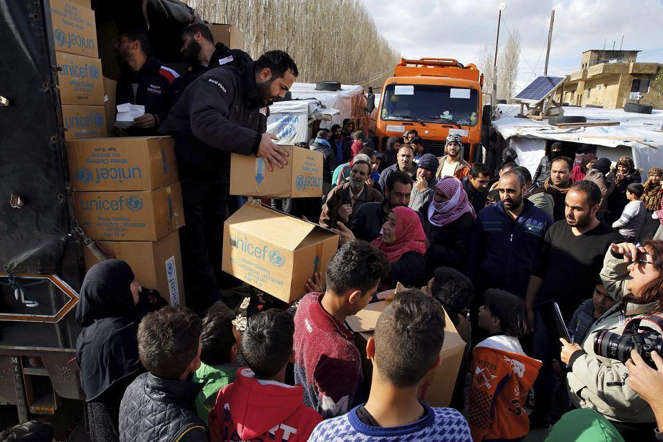 Syryjscy uchodźcy w Libanie. Obóz w Bar Elias, 10 stycznia 2019 r.