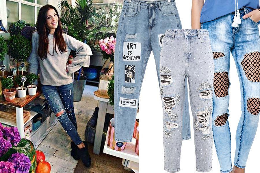Kolaż, zdobione jeansy/Materiały partnera