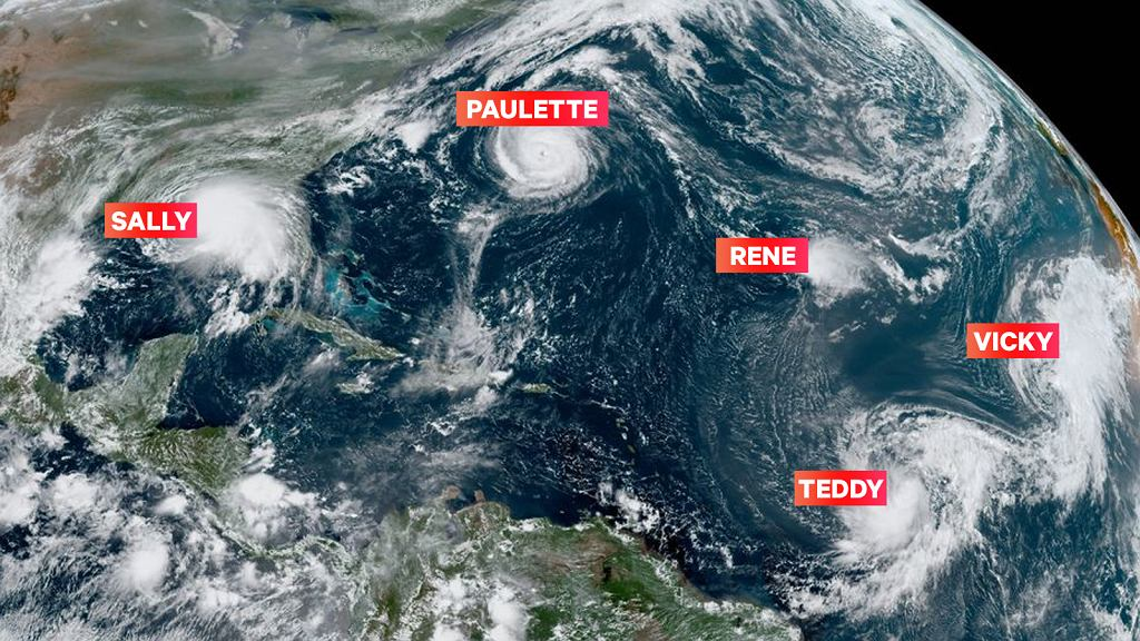 Pięć systemów burzowych na Atlantyku jednocześnie, 14 września 2020 r.