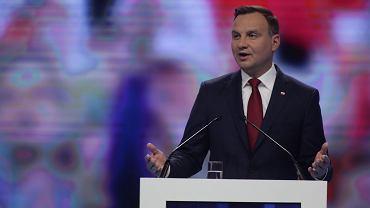 Andrzej Duda przemawia podczas konwencji PiS w Warszawie