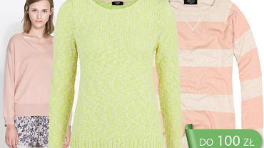 Kolorowe sweterki wciągane przez głowę do 100 zł