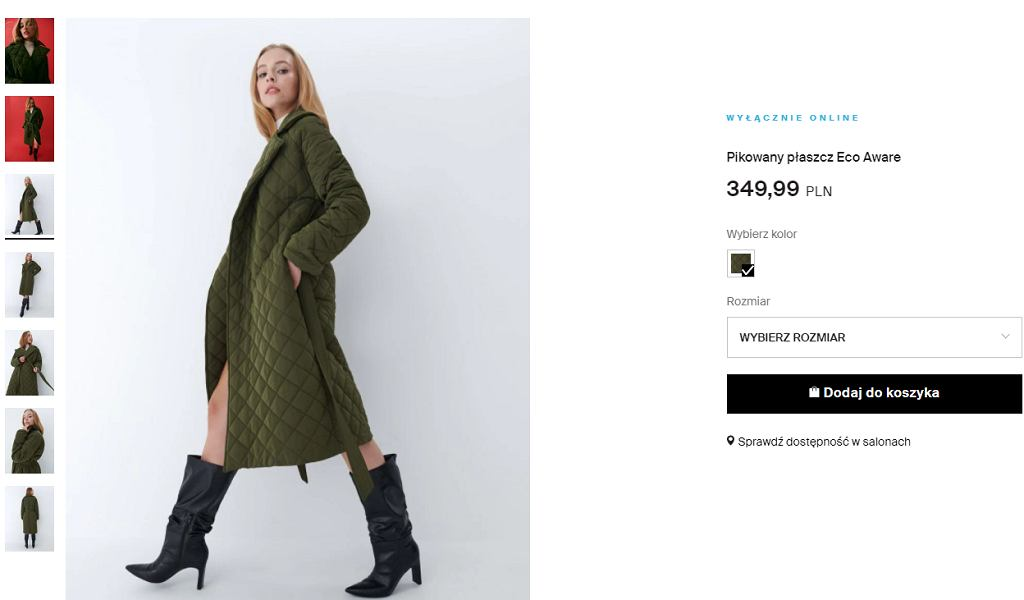 pikowany płaszcz, Mohito