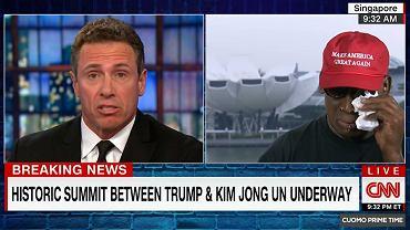 Dennis Rodman płacze podczas rozmowy na antenie CNN. Były koszykarz komentował szczyt Trump-Kim