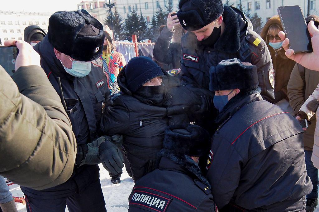 Rosja. Protesty poparcia dla Aleksieja Nawalnego. Aresztowania demonstrantów