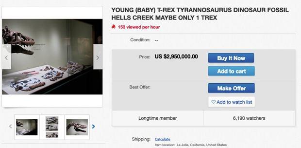 Szkielet tyranozaura wystawiony na sprzedaż na eBayu