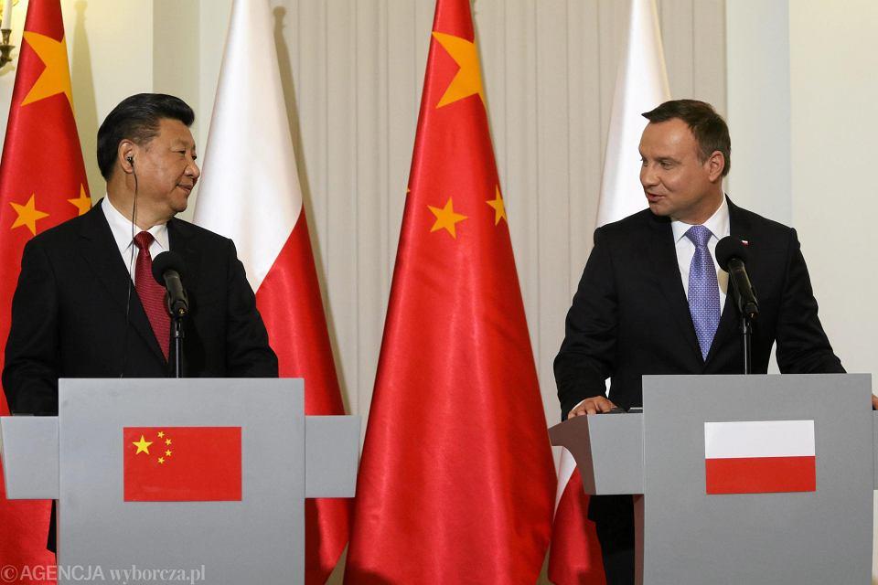 Andrzej Duda i Xi Jinping podczas wizyty przewodniczącego ChRL w Polsce, czerwiec 2016 r.