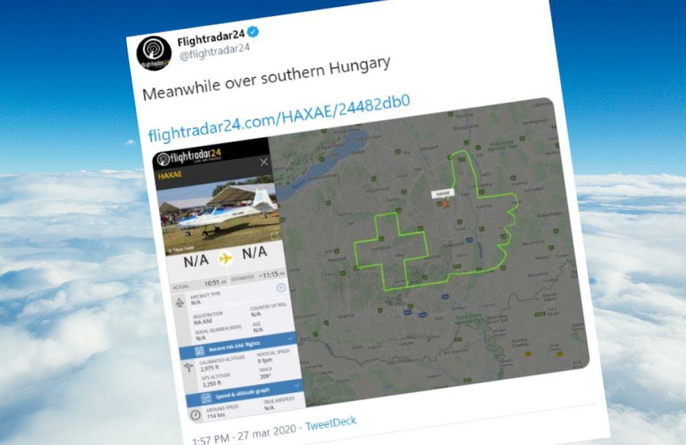 Pilot zostawił na niebie znak uznania dla medyków