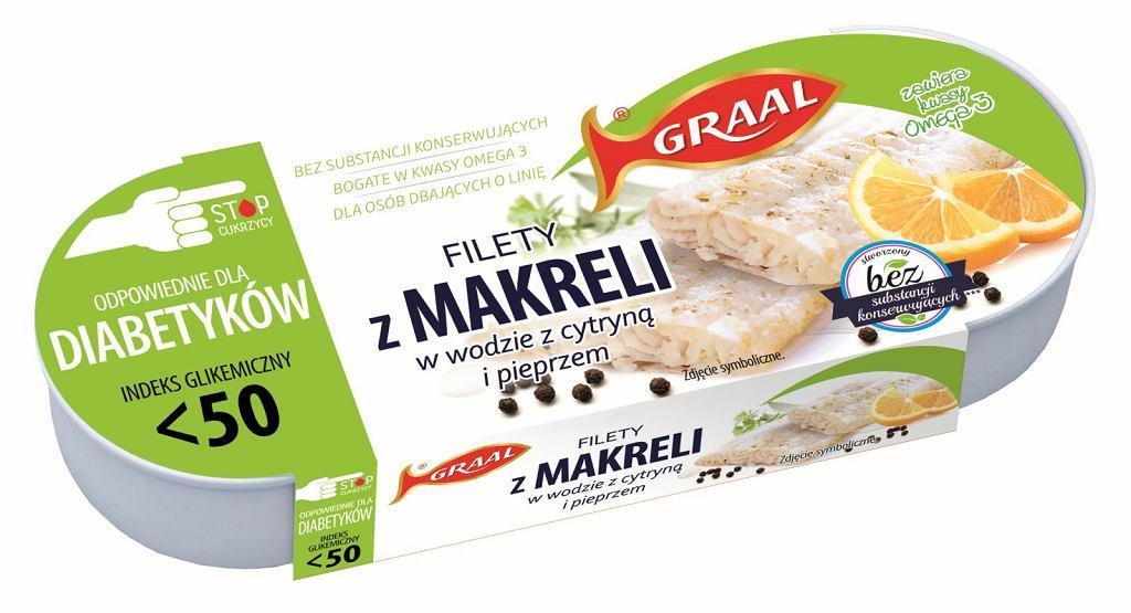 GRAAL Diabetic - Filety z makreli w wodzie z cytryną i pieprzem