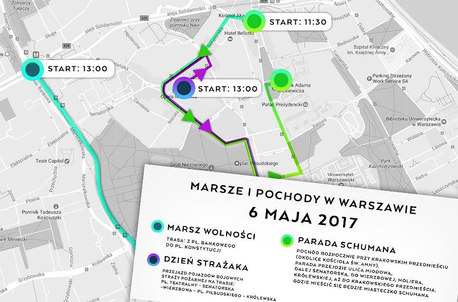 Marsze i przejazdy w Warszawie 6 maja