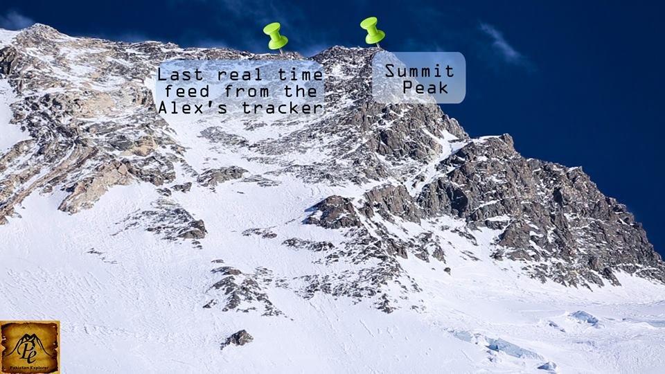 Po lewej punkt, skąd odebrano ostatni pomiar nadajnika GPS. Po prawej szczyt fot.  facebook.com/thepakistanexplorer