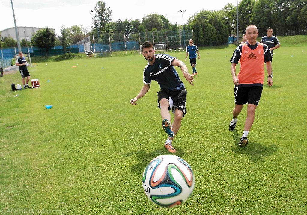 Piłkarze nożni Wisły podczas treningu