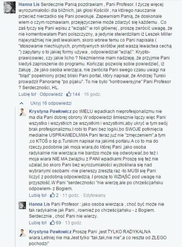 Rozmowa Hanny Lis z Krystyną Pawłowicz na Facebooku