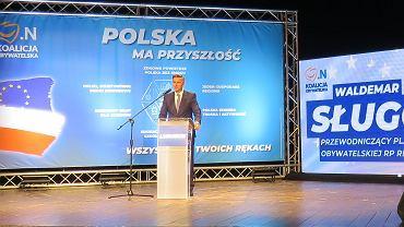 Teatr Osterwy w Gorzowie, konwencja wyborcza Koalicji Obywatelskiej. Senator Waldemar Sługocki